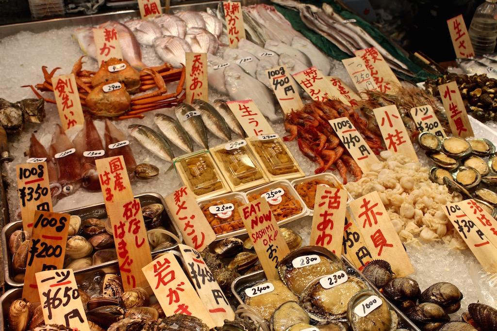 Was es auf dem Nishiki Markt so alles im Angebot gibt....