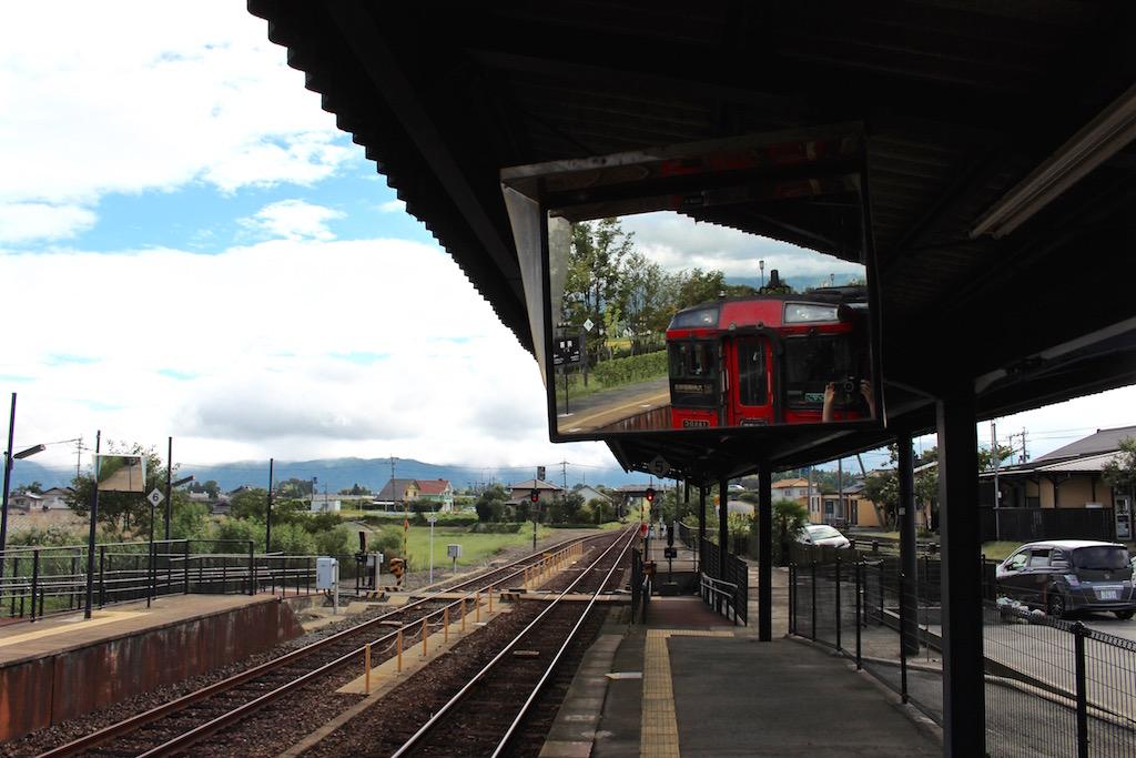 Bahnfahren im Süden Japans.