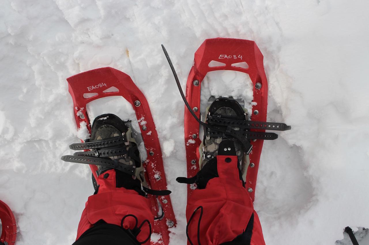 Bereit zur Schneeschuhwanderung.