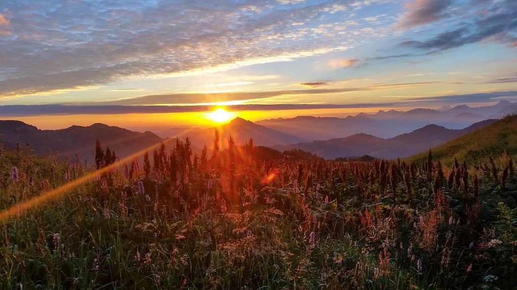 Sonnenaufgang auf dem Siplinger Kopf im Allgäu.