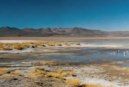Lagune auf dem Weg zum Salar de Uyuni.