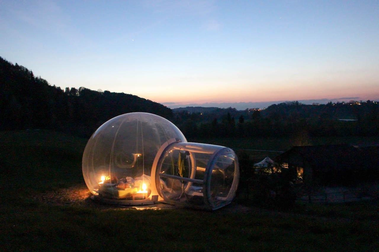 Eine Nacht im Bubble Hotel im Thurgau.