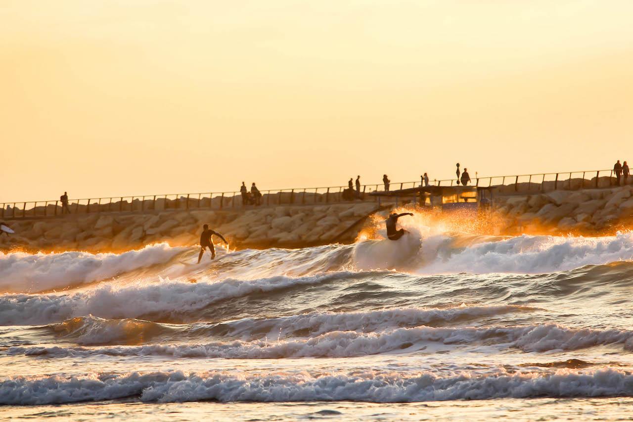 Surfer in Tel Aviv.