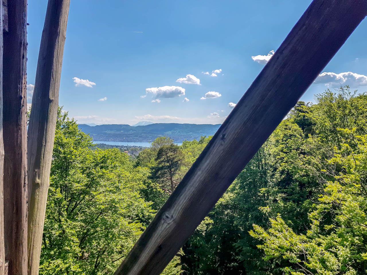 Blick vom Turm Loorenkopf nach Zürich.